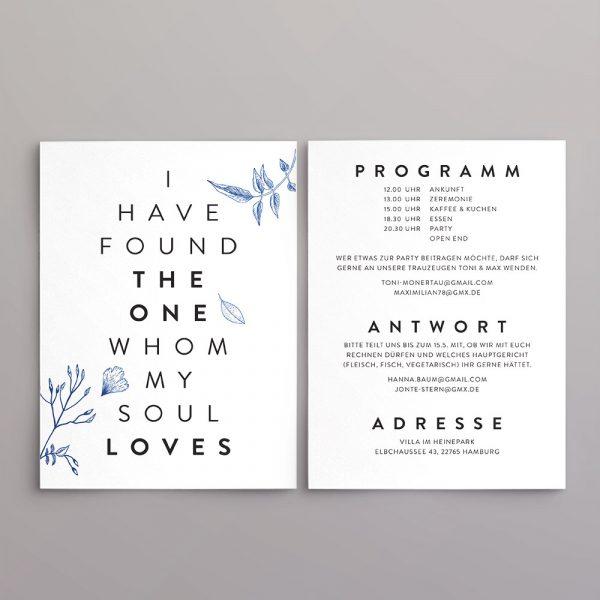 Einladung zweite Seite im Design Jonte