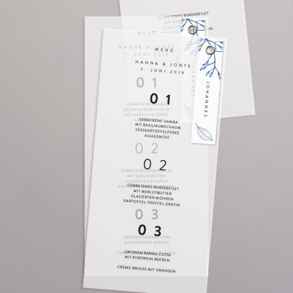 Menükarte auf Transparentpapier