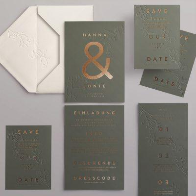 Hochzeitskarten Set grün mit Kupfer