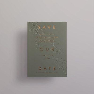 Save the Date Kupfer auf Grün
