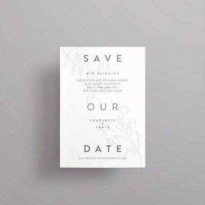 Blindprägung auf Save the Date Karten