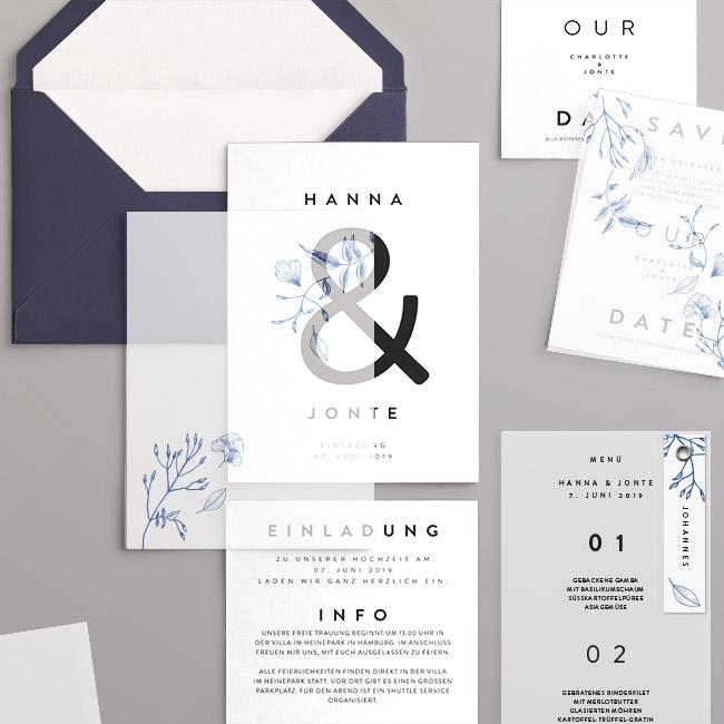 Hochzeitskarten mit Transparent