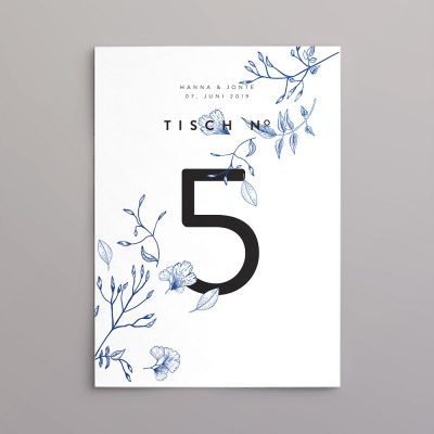 Tischkarte im Design Jonte in blau