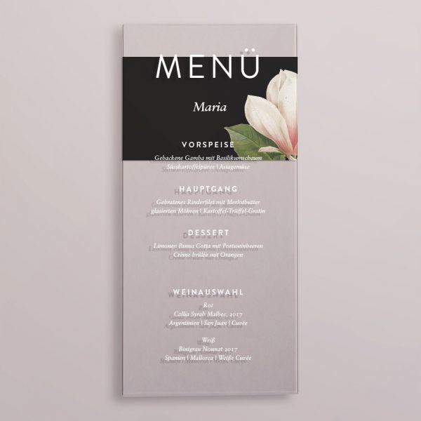 Acrylglas Menükarte mit Platzkarte