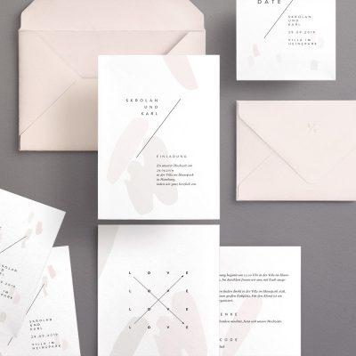 klare, helle Einladungskarten von Made with Love