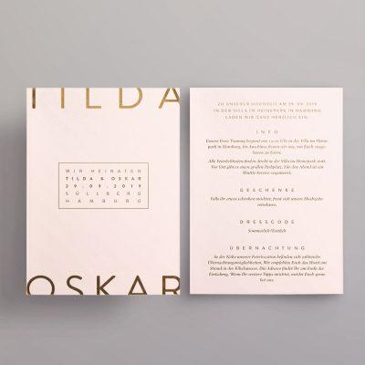 Einladung mit Metallfolienprägung in blush und gold