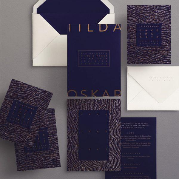 Hochzeitspapeterie Set mit Muster und plakative Typografie