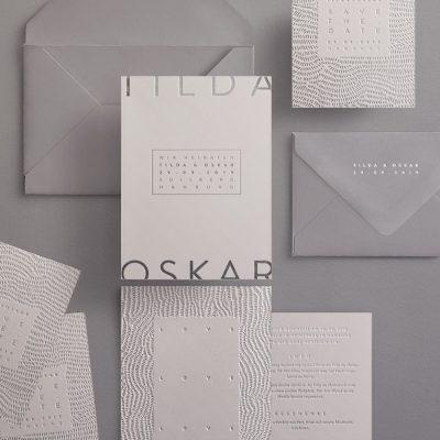 Papeterieset mit Silber und grau