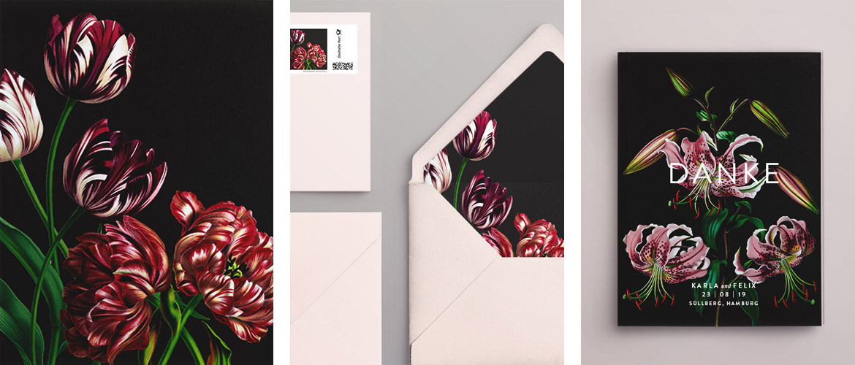 florale Hochzeitskarten