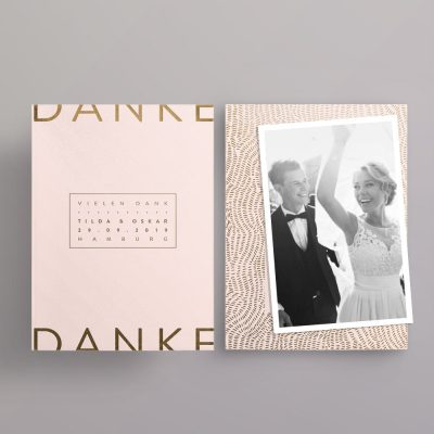 Made with Love Gold auf blush Dankeskarte