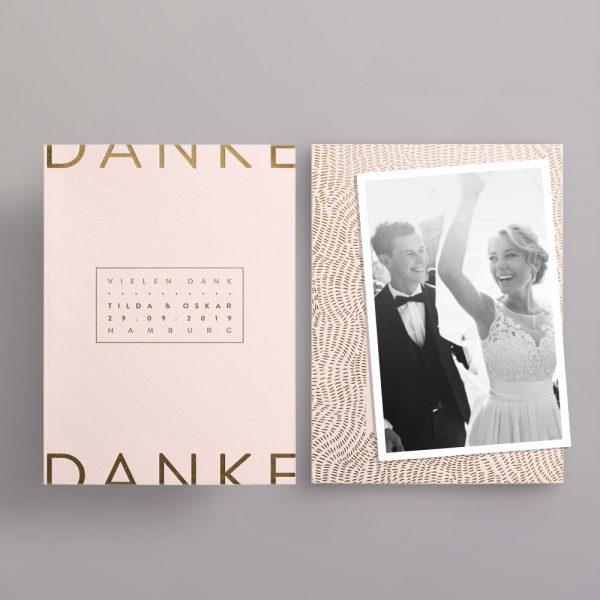 Made with Love Gold auf blush Dankeskarte