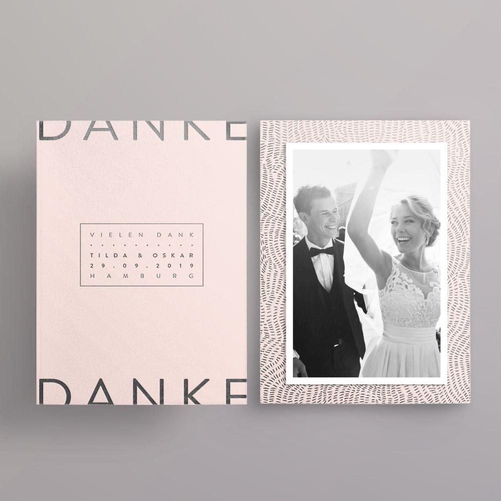 Made with Love Silber auf blush Dankeskarte