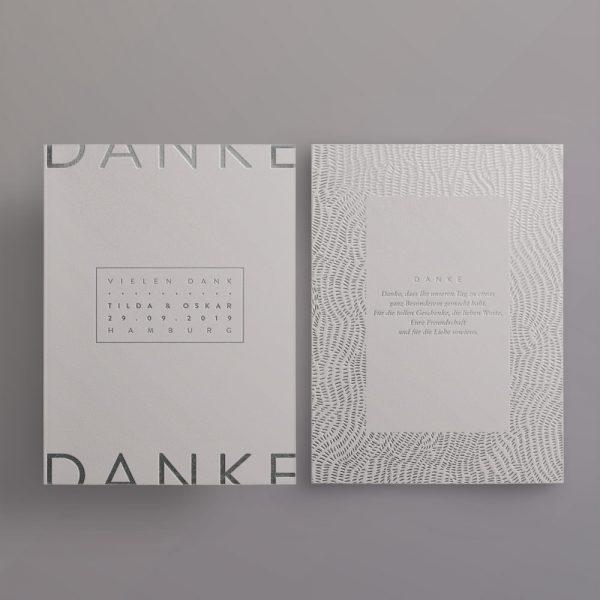 Silber auf Grau – Dankeskarte Made with Love