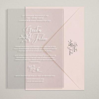 Acrylkarten als Einladung zur Hochzeit