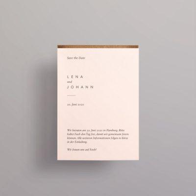 Save the Date Hochzeitskarten auf Rosa mit Goldkante