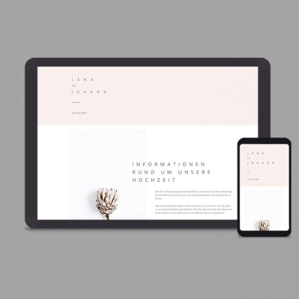 Moderne Hochzeitswebsite