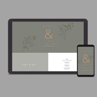 Hochzeitswebsite im Greenery-Look