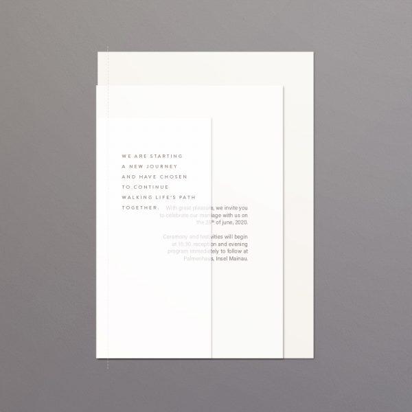 Hochzeitspapeterie - Einleitung auf Transparent